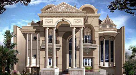 exterior rumah mewah bertemakan eropa