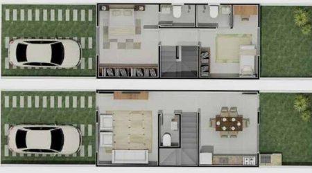 jasa desain rumah 2 lantai dengan tangga penyekat