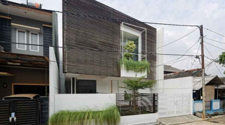 rumah minimalis tampak depan aksen hollow