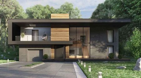 rumah minimalis tampak depan tema hitam